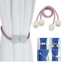 4PCS Pearl Magnet Curtain Buckles, Curtain Straps, Punch-free Straps, Window Curtains Magnetic Holder Clips, Curtain Strap Accessories