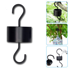 2-Pack Bird Feeders Hook, Metal Crook Garden Border Hooks Black for Hummingbird Feeders Accessory Hooks
