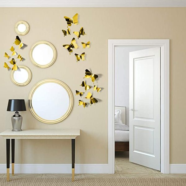 60 Pieces 3D Mirror Butterfly Wall Stickers Decals DIY Hollow-Out Butterfly Wall Decor for Home Decoration, 3 Sizes(Green+Blue+Purple+Silver+Gold)