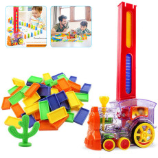 Domino Train Toys, 60 Pcs Domino Train Building Blocks Toy Car Set, Stacking Toy Blocks Train Model with Lights and Sounds Construction