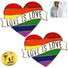 Gay Pride Pins, Rainbow Flag & Cape, Love is Love - Enamel Pin Decoration, Perfect for Pride Festivals