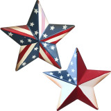 American Stars, Metal 3D Barn Star Patriotic Wall Decor Decoration Hanging American Flag Star Independence Day