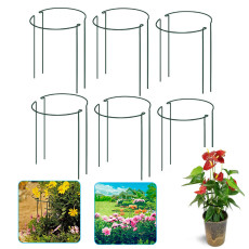 4Pcs Plant Support Stake, Half Round Metal Garden Green Plant Support Ring Garden Border Supports Plant Support Ring Cage for Indoor Potted or Garden Flowers & Vine Grow Holders (S*2+L*2)