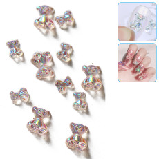 40pcs Mixed Size 3D Cute Bear Nail Art Decorations Fashion Nail Polish UV Gel DIY Ornaments Manicure Design Accessories