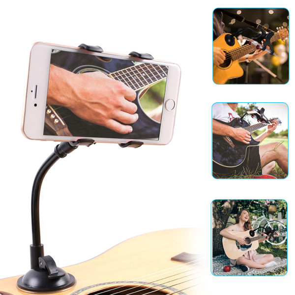 Phone Holder for Guitar, Removable Suction Cup Phone Holder for Acoustic Electric Classical Guitar