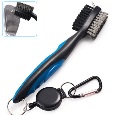 2 PCS Golf Club Brush Club Groove Cleaner with 2 Ft Retractable Zip-line Aluminum Buckle, Easily Attaches to Golf Bag
