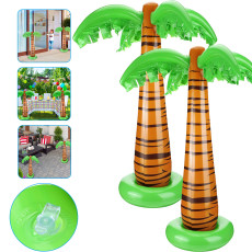 2PCS Inflatable Coconut Tree, Inflatable Palm Trees Jumbo Coconut Trees Beach Backdrop Favor for Hawaiian Luau Party Decoration Accessory
