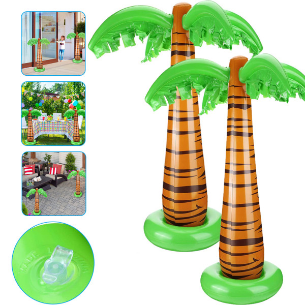 2PCS Inflatable Coconut Tree, Inflatable Palm Trees Jumbo Coconut Trees Beach Backdrop Favor for Hawaiian Luau Party Decoration Accessory