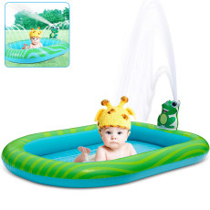 3 in 1 Children's Paddling Pool, Inflatable Sprinkler Pool Water Park For Kids Toddlers Kiddie Wading Swimming Outdoor Play Mat Splash Pad