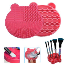 2 PCS Makeup Brush Cleaning Box, 2 in 1 Silicone Brush, Cleaner Dryer Tray Brush Portable Travel Makeup Brush Scrubber Mat Cleaning Tool (Rose red)