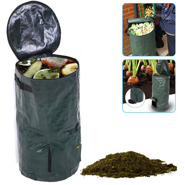 Collapsible Compost Bag, 2 Sizes Kitchen Garden Yard Organic Waste Compost Bag Environmental Friendly PE Growers Bags,  Friendly Natural Bags For Kitchen Garden Food Scraps & Home