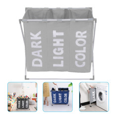 Foldable Laundry Basket, 3 Compartment Removable Washing Storage Bin, with Handle For Bathroom Bedroom Home