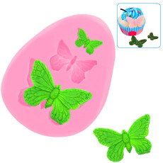 2PCS Butterfly Silicone Molds, Mini Butterfly Fondant Cake Baking Mold Cupcake Decoration Tool for Homemade Cake DIY Polymer Clay