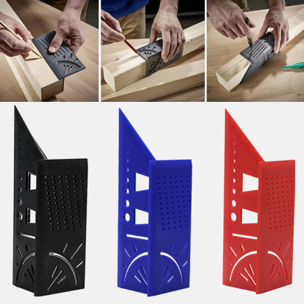 Measure Ruler, Woodworking 3D Mitre Angle Measuring Square Size Measure Tool, Home Measuring Ruler Gauge Ruler with Pen DIY Carpentry Woodworking Tools