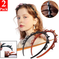 Double Bangs Hairstyle Hairpin, Double Layer Twist Plait Headband Hair Tools, Multi-layer hollow woven Headband, Women Fashion Hair Accessories, DIY Hair Bands Headbands for Women Girls
