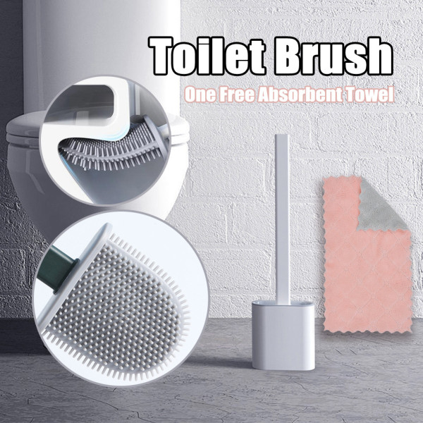 Silicone Toilet Brush, Soft Bristle Wall-mounted Bathroom Toilet Brush Holder Set Clean Tool, For Toiler Bathroom Accessories