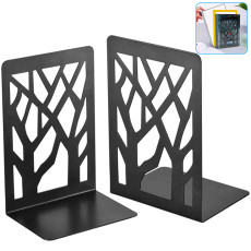 2 PCS Book Ends, Black Metal Non-Slip Bookend Bracket Heavy Book End Office Book Stopper