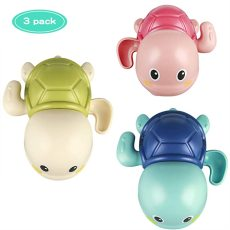 3 PCS Baby Bath Toys, Wind up Swimming Turtle Toys for Toddlers, Floating Water Bathtub Shower Toys, Bathroom Pool Play Toy Fun Bathtime Gift for Kids Boys Girls (Random colors)