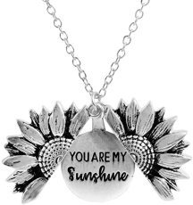 You Are My Sunshine Engraved Necklace Sunflower Locket Necklace Jewelry for Mom, Girlfriend, Women (Silver)