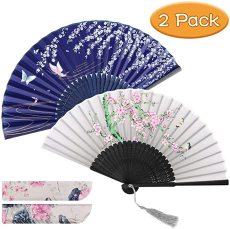 2 Pcs Hand Held Folding Fan, Women Craft Silk Fan with Vintage Retro Style Patterns & Elegant Tassel,Folding Fans for Women with Bamboo Frame and Delicate Sleeves, for Dancing Decoration