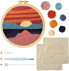 Punch Needle Kits, Rug Hooking Kit for Adults Kids Beginner with an Embroidery Pen Yarn Rug Punch Needle Hoop