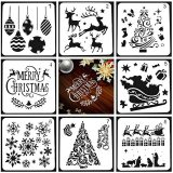 8PCS Christmas Stencils Template, Reusable Plastic Craft, for Painting on Wood, Craft Cards Making, Human Body Painting, Home Decor