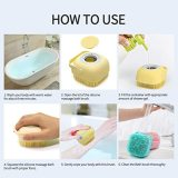 Silicone Shower Brush, Massage Exfoliating Bath & Shower Brush With Soap Dispenser,Silicone Bath Scrubber With Ultra Soft Texture,Easy to Clean