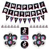 27PCS TikTok Birthday Party Decorations,TIK Tok Party Supplies,TIK Tok Banner,TIK Tok Balloons and TIK Tok Cake Topper for Musical Party Sharing Celebration Birthday Party Supplies