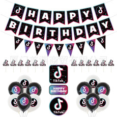 27PCS TikTok Birthday Party Decorations,TIK Tok Party Supplies,TIK Tok Banner,TIK Tok Balloons and TIK Tok Cake Topper for Musical Party Sharing Celebration Birthday Party Supplies