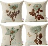 4 PCS Lotus Leaf Butterfly Flowers Pattern Cotton Linen Throw Pillow Case,  Boho Floral Printed Pillow Cushion Cover, Home Sofa Decorative (Cushion Cover)