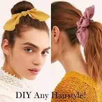 6PCS Hair Elastic Scrunchies, Chiffon Hair Scrunchies, Hair Bow Chiffon Ponytail Holder Bobbles Soft Elegant Bow Scrunchies for Women Hair (Yellow+Blue +Black +Purple +Beige +Dark Blue)