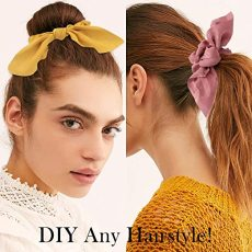 6PCS Hair Elastic Scrunchies, Chiffon Hair Scrunchies, Hair Bow Chiffon Ponytail Holder Bobbles Soft Elegant Bow Scrunchies for Women Hair (Yellow+Blue +Black +Purple +Beige +Dark Blue)