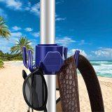 4PCS Beach Umbrella Hanging Hook, Plastic Umbrella Hook Hanging 4-Prongs Beach Umbrella Hanger for Towels Hats Clothes Camera Sunglasses Bag, Beach Travel Supplies