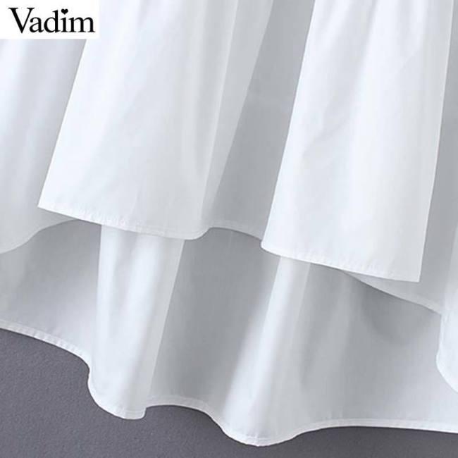 Vadim women white loose dress V neck Pleated irregular long sleeve female casual dresses solid chic straight vestidos QB532