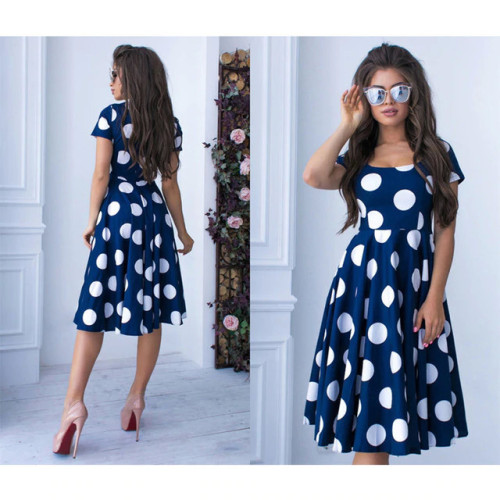 2019 Summer New Fashion Lady Bohemian Dot Printed A-line Party Dress O-Neck Elegant Female Chic Women Prom Vintage Vestidos