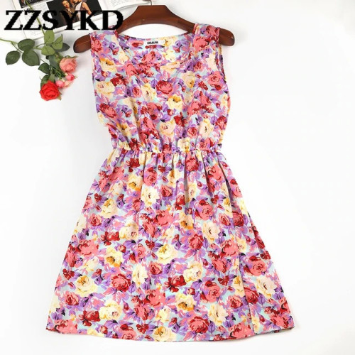Summer Dress 2018 Europe And America Spring Casual Women Sleeveless Dress O-Neck Beach Plus Size Dresses For Women Clothing