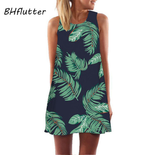 BHflutter Vestidos 2018 Dress for Women Leaves Print Casual Chiffon Dress Sleeveless O neck Cute Summer Dress Short Beach Dress
