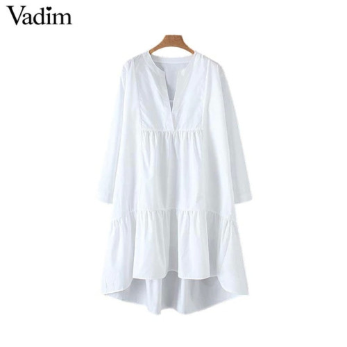Vadim women white loose dress V neck Pleated irregular long sleeve female casual dresses solid chic straight vestidos QB532