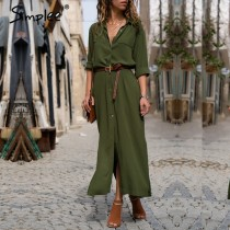 Simplee Casual button long summer dress shirt 2018  office lady Vintage maxi women dress plus size V neck chiffon dress festa