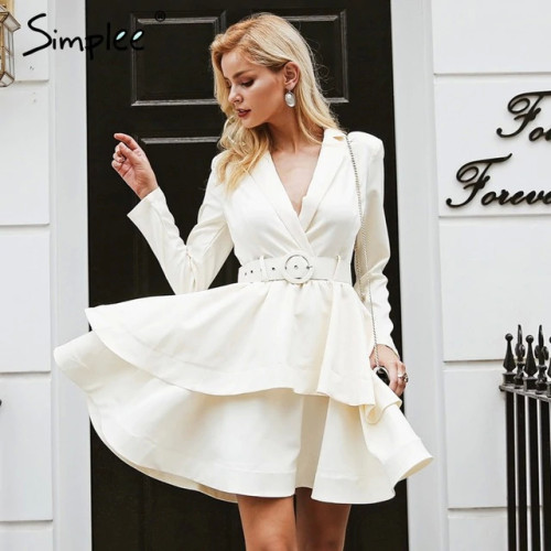 Simplee Elegant ruffle turndown collar white dress Sash high waist women dress Autumn winter long sleeve sexy dresses female