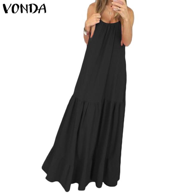 VONDA Bohemian Dress Women 2019 Summer Sexy Sleeveless Spaghetti Strap Ruffle Swings Maxi Long Dresses Holiday Vestido Plus Size