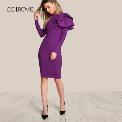 COLROVIE Purple One Side Tiered Ruffle Trim Party Dress 2018 Autumn Black Slim Elegant Bodycon Dress Long Sleeve Women Dresses