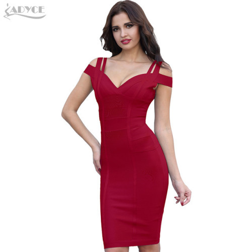 ADYCE New Summer Bandage Dress Women Vestidos Verano 2019 Sexy V Neck Off Shoulder Celebrity Party Dress Sexy Club Bodycon Dress