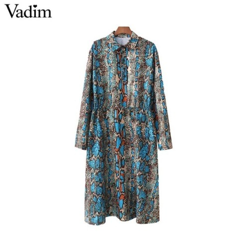 Vadim women chic snake skin print shirt dress long sleeve drawstring sashes animal pattern casual mid calf dress vestidos QA834
