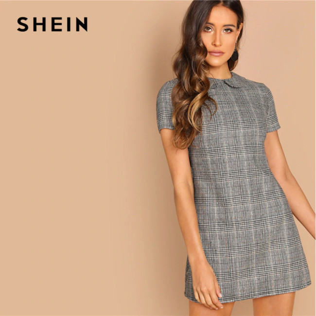 SHEIN Grey 100% Cotton Peter-Pan-Collar Plaid Short Sheath Short Sleeve Flared Dress Autumn Elegant Modern Lady Women Dresses