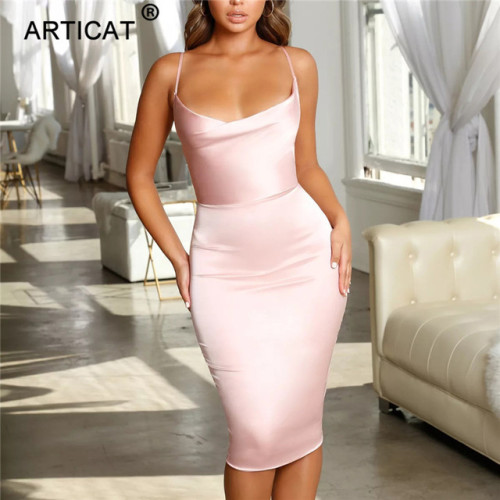 Articat Satin Strapless Bodycon Bandage Dress Spaghetti Strap Backless Sheath Summer Dress 2019 Casual Beach Dress Vestidos