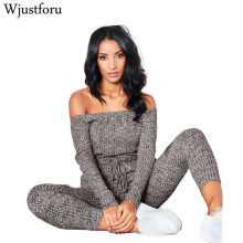 Wjustforu Sexy Off Shoulder Jumpsuits Women Long Sleeve Casual Rompers Knitted Hole Jumpsuit Female Elastic Waist Overalls