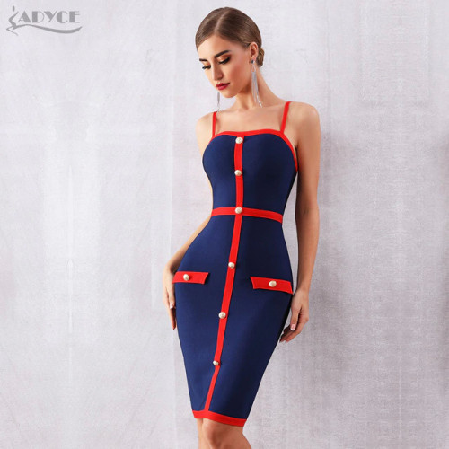 Adyce 2019 New Summer Women Bodycon Bandage Dress Vestidos Elegant Blue Spaghetti Strap Nightclub Dress Celebrity Party Dresses