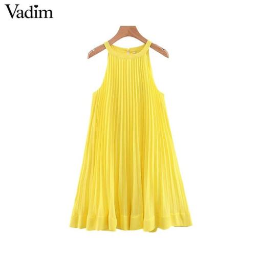 Vadim women yellow chiffon mini shift dress halter sleeveless cute straight female stylish pleated dresses vestidos QB567