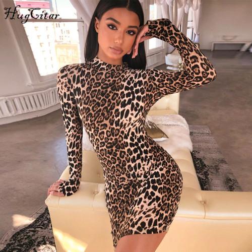 Hugcitar long sleeve high neck leopard print sexy dresses 2018 autumn winter women fahsion high waist Christmas party dresses